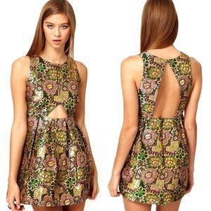Alice McCall The Queen's Floral Gold Brocade Dress